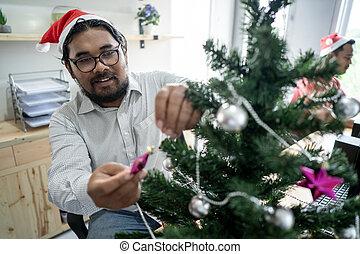 munkás, díszít, boldog, fa, karácsony