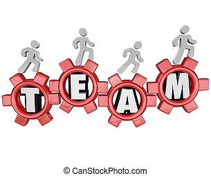 munkás, együtt, csapatmunka, fogaskerék-áttétel, befog, menetelés