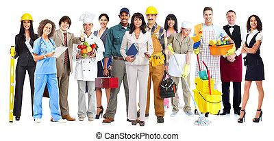 munkás, emberek, group.