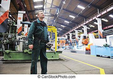 munkás, emberek in, gyár