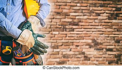 munkás, fárasztó, biztonsági felszerelés
