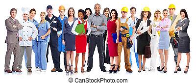 munkás, group., ügy emberek
