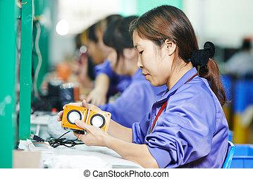 munkás, gyári, hím, kínai