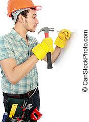 munkás, használ, kalapács, boldog