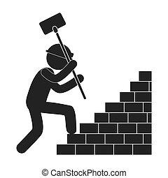 munkás, kalapács, mászó, tégla lépcsősor, alak, pictogram