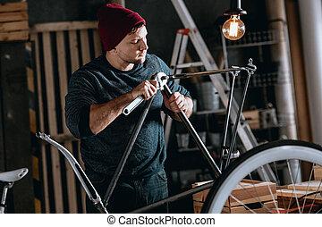 munkás, megjavítás, bicikli