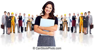 munkás, nő, csoport, emberek., ügy