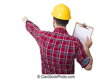 munkás, noha, a, irattartó, és, elszigetelt, white, szerkesztés, sisak