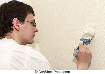 munkás, szobafestő, festő, ecset