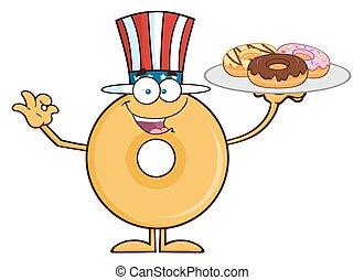 munk, amerikan, tjänande, donuts