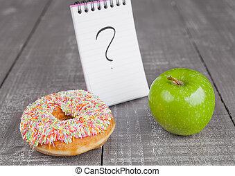 munk, och, äpple, frisk mat, val, på, trä planka