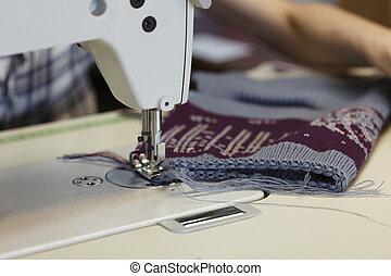 munka, alatt, varrás, bolt, -ban, textile gyár, közelkép