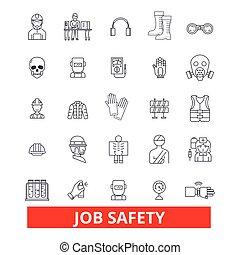 munka, biztonság, biztosíték, immunity, biztonság, oltalom, alkalmazás, karrier, safeness, egyenes, icons., editable, strokes., lakás, tervezés, vektor, ábra, jelkép, concept., lineáris, cégtábla, elszigetelt, háttér