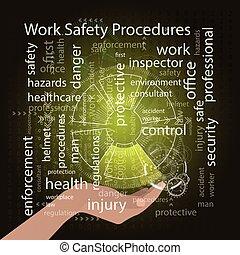 munka, biztonság, folyamat, concept., vektor, ábra