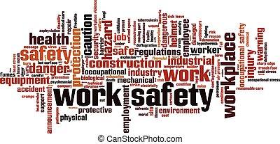 munka, biztonság, szó, felhő