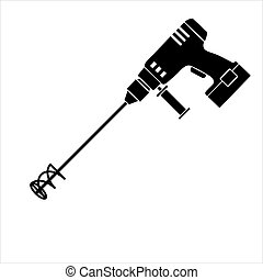 munka, elektromos, konyhai robotgép, kezezés szerszám, ikon, beton