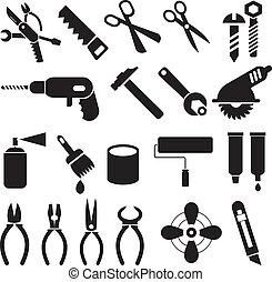 munka, eszközök, -, állhatatos, közül, vektor, ikonok