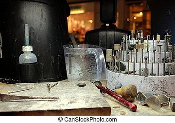 munka, eszközök, jeweler's, bírói szék