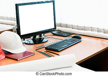 munka eszközöl, noha, számítógép, nehéz kalap, és, terv,...