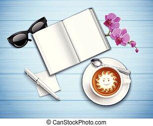 munka felad, cappuccino, és, orhidea