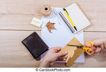 munka, kéz, rajzóra szerszám, kellék, íróasztal