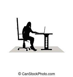 munka, leány, számítógép, vektor
