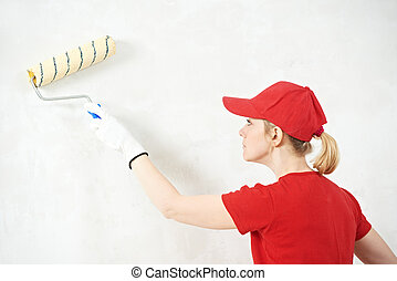 munka, nő, szobai, szobafestő