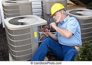 munka, repairman, nedvességtartalom szabályozás, levegő
