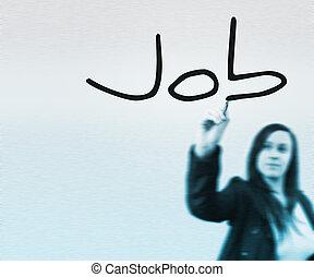 munka, szó, írott, által, üzletasszony