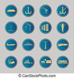 munkaszervezési, icons., kék, ipari
