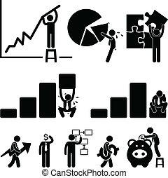 munkavállaló, pénzel, ügy, diagram
