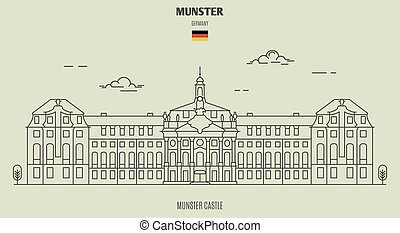 munster, señal, castillo, germany., icono