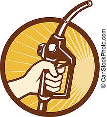munstycke, gas, hand, pump, holdingen, drivmedel