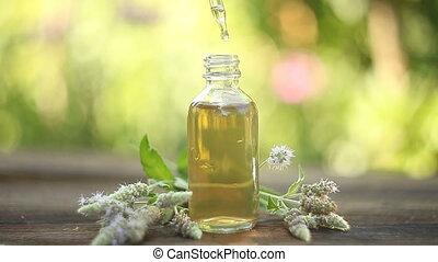 munt, essentiële olie, in, mooi, fles, op, tafel
