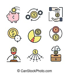 munt, pictogram, set, kleur