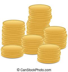 munt, stapel, goud