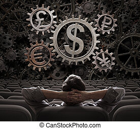 munten, werkende , handelaar, makelaar, illustratie, het...