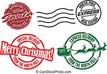 munter, frimärken, jul, jultomten