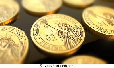 muntjes, concept, financieel, dollar