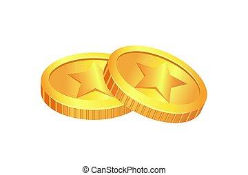 muntjes, goud, materiaal, illustratie, vector, gemaakt