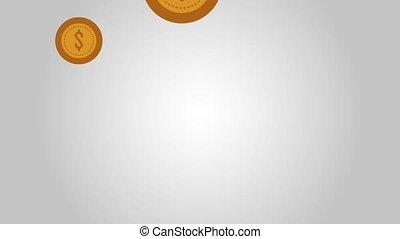 muntjes, het vallen geld, iconen