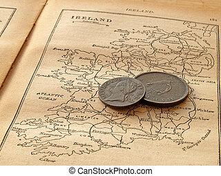 muntjes, op, een, kaart