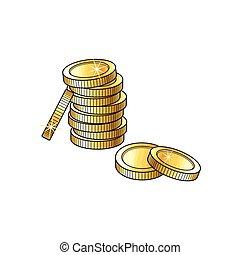 muntjes, schets, goud, illustratie, vector, stapel