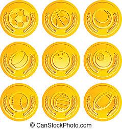 muntjes, sportende, gouden ballen