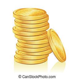 muntjes, stapel, goud