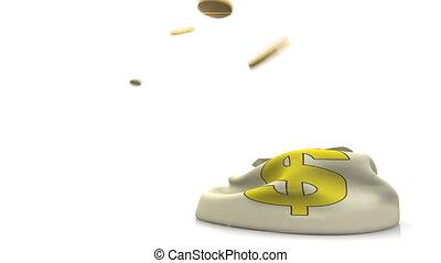 muntjes, tred, geld, bag.