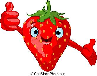 muntre, cartoon, jordbær, charac
