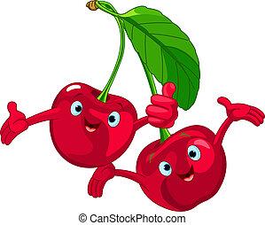 muntre, kirsebær, cartoon, characte