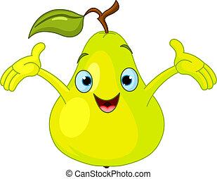 muntre, pear, karakter, cartoon