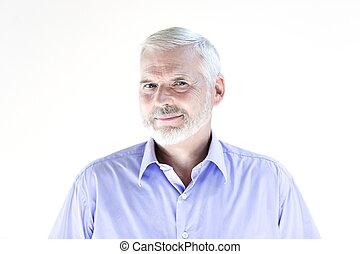 muntre, portræt, senior mand